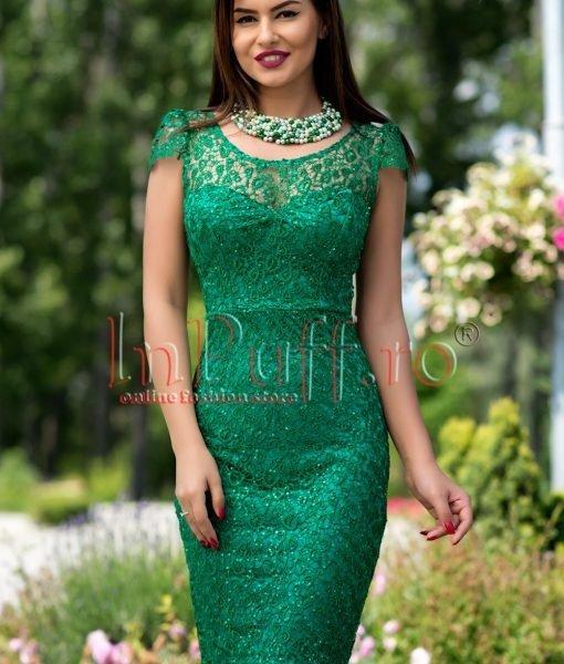 Rochie de seara verde dantela brodata paietata – ROCHII –