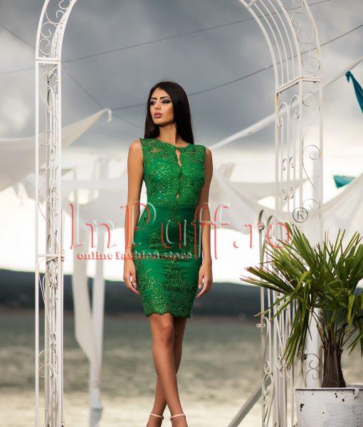 Rochie de seara verde smarald cu broderie – ROCHII –