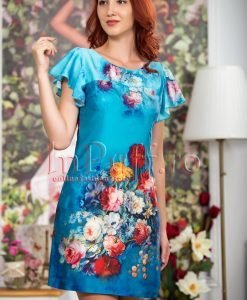 Rochie de vara albastra cu imprimeu floral - ROCHII -