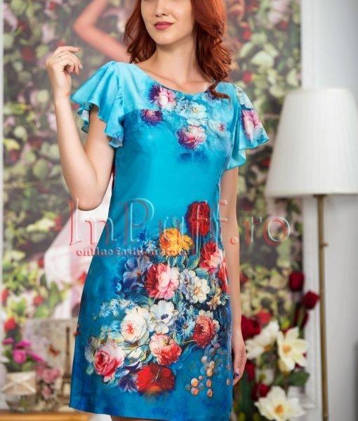 Rochie de vara albastra cu imprimeu floral – ROCHII –