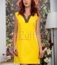 Rochie de vara galbena cu accesoriu din margele la gat - ROCHII -
