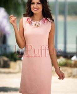 Rochie de vara roz pal din in cu flori la gat - ROCHII -