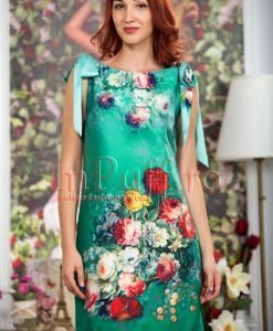 Rochie de vara verde cu imprimeu floral - ROCHII -