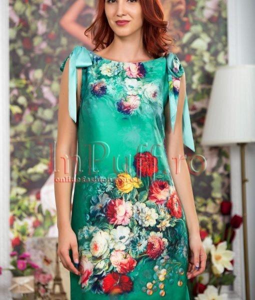 Rochie de vara verde cu imprimeu floral – ROCHII –