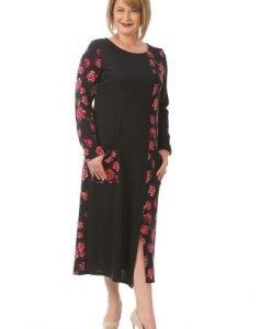 Rochie de zi cu imprimeu trandafiri R097-BM bleumarin - Marimi mari -