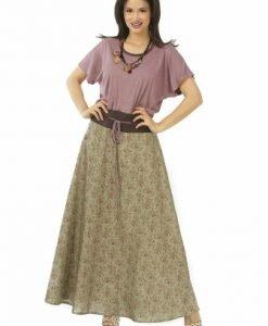 Rochie de zi lila cu maro R119-M - Marimi mari -