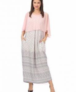 Rochie din voal gri cu roz R112-M - Marimi mari -