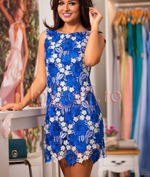 Rochie eleganta albastra cu flori din dantela brodata – ROCHII –