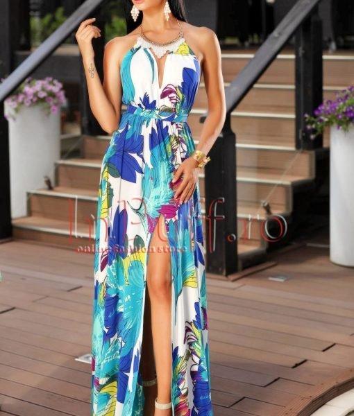 Rochie eleganta colorata de vara accesorizata cu colier la gat – ROCHII –