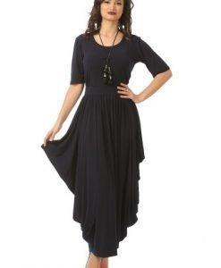 Rochie eleganta cu falduri R013L-BM bleumarin - Marimi mari -