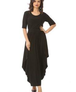 Rochie eleganta cu falduri R013L-NM negru - Marimi mari -