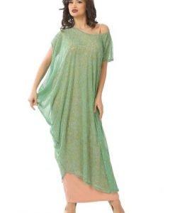 Rochie eleganta cu imprimeu RO73-TM turcoaz - Marimi mari -