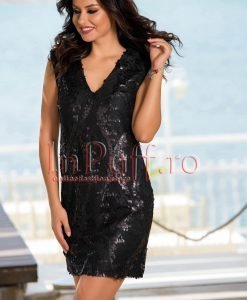 Rochie eleganta de seara din dantela neagra cu paiete - ROCHII -