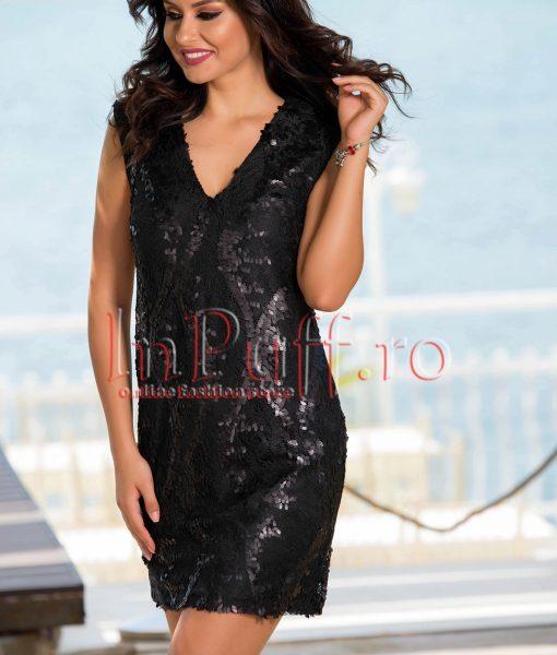 Rochie eleganta de seara din dantela neagra cu paiete – ROCHII –