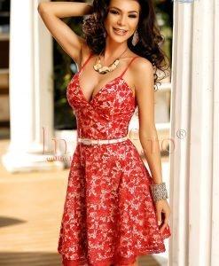 Rochie eleganta de seara din dantela rosie - ROCHII -
