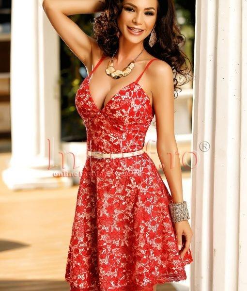 Rochie eleganta de seara din dantela rosie – ROCHII –