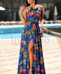 Rochie eleganta de vara albastra accesorizata cu colier la gat - ROCHII -