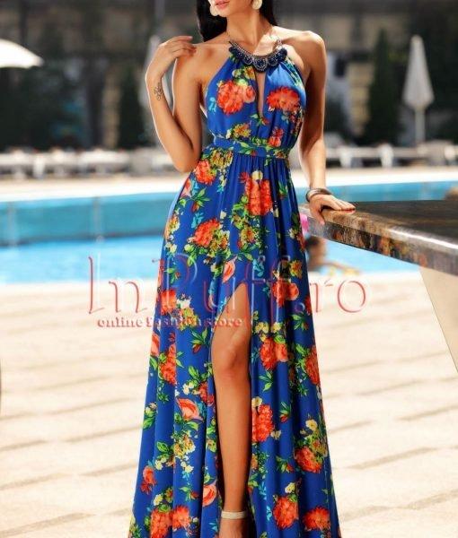 Rochie eleganta de vara albastra accesorizata cu colier la gat – ROCHII –
