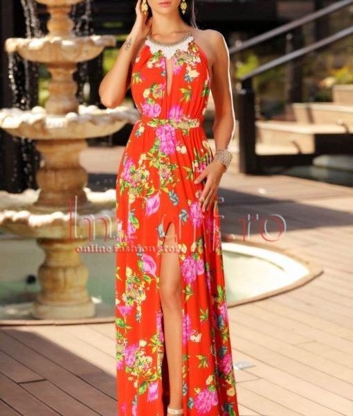 Rochie eleganta de vara rosie accesorizata cu colier la gat – ROCHII –