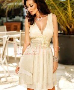 Rochie eleganta din crep cu broderie in zona taliei - ROCHII -