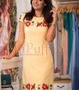 Rochie eleganta galbena cu flori brodate - ROCHII -