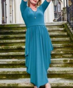 Rochie eleganta lunga cu falduri R013L-VR verde - Marimi mari -