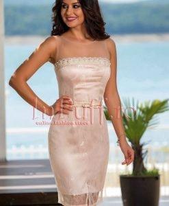 Rochie eleganta midi din dantela nude - ROCHII -