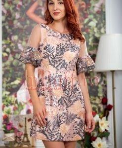 Rochie eleganta roz piersicuta cu volane - ROCHII -