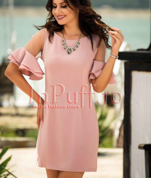 Rochie eleganta roz pudra cu volans la maneca – ROCHII –