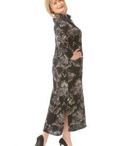 Rochie lunga cu imprimeu R103-M negru - Marimi mari -