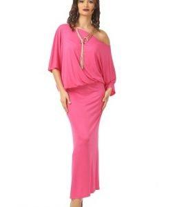 Rochie lunga cu maneca cazuta R082-M roz - Marimi mari -