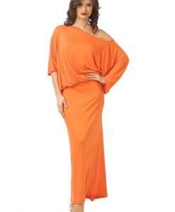 Rochie lunga cu maneca cazuta R082-MO orange - Marimi mari -