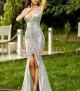 Rochie lunga cu paiete argintii - ROCHII -