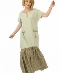 Rochie lunga cu volan imprimat R118-KM khaki - Marimi mari -