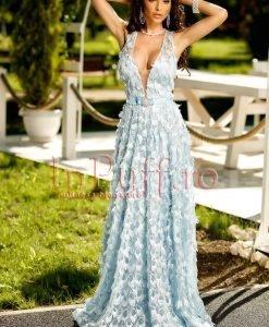 Rochie lunga dantela ciel cu flori 3D - ROCHII -