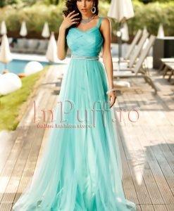 Rochie lunga de seara din tul turquoise - ROCHII -