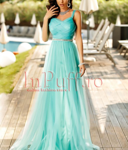 Rochie lunga de seara din tul turquoise – ROCHII –