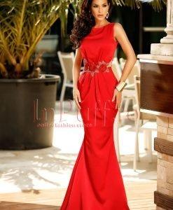 Rochie lunga de seara rosie cu broderie in talie - ROCHII -