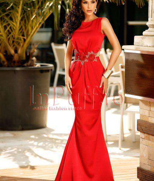 Rochie lunga de seara rosie cu broderie in talie – ROCHII –