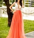 Rochie lunga din dantela si tul portocaliu - ROCHII -