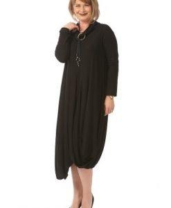 Rochie lunga drapata R028-M neagra - Marimi mari -
