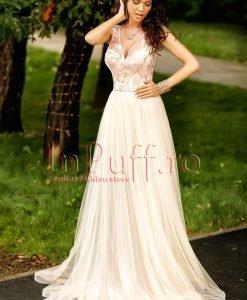 Rochie lunga eleganta din tul crem si dantela rose - ROCHII -