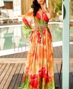 Rochie lunga lejera din voal cu imprimeu floral - ROCHII -