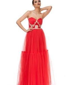 Rochie lunga rosie de seara din tull JLRRDALIA - Rochii de ocazie -