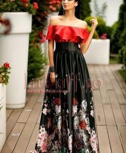 Rochie lunga rosu cu negru pe umeri cu imprimeu floral - ROCHII -