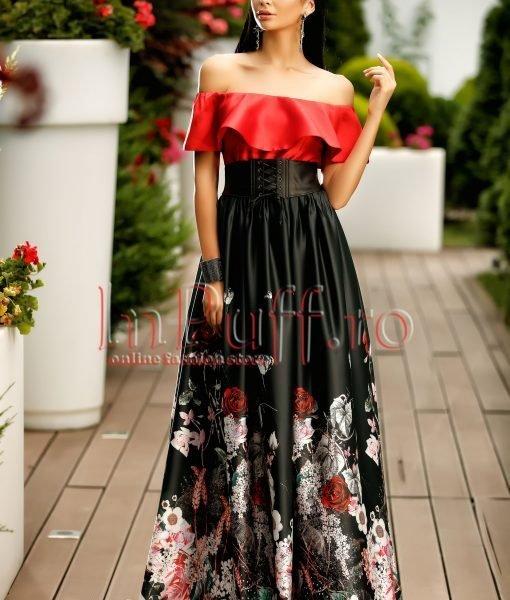 Rochie lunga rosu cu negru pe umeri cu imprimeu floral – ROCHII –