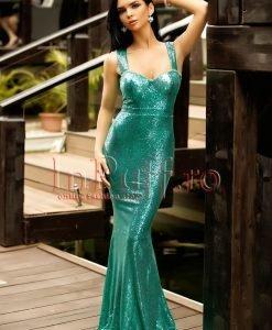 Rochie lunga tip sirena cu paiete verzi si spatele gol - ROCHII -