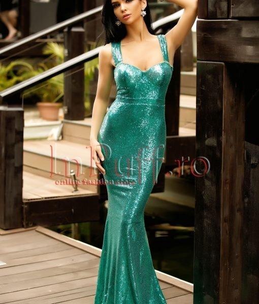 Rochie lunga tip sirena cu paiete verzi si spatele gol – ROCHII –