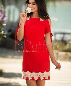 Rochie rosie din in cu broderie ivoire - ROCHII -