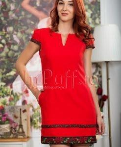 Rochie rosie eleganta cu detalii din flori brodate - ROCHII -